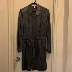 Banana Republic Steely Grey Silk Utility Dress